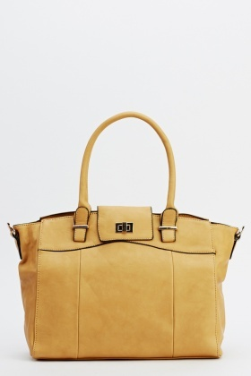Twist Lock Faux Leather Bag