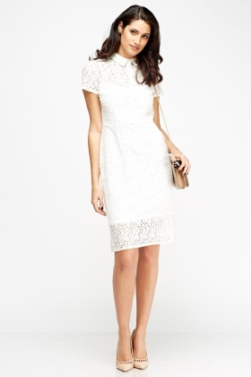 2 In 1 Lace Overlay Button Up Dress