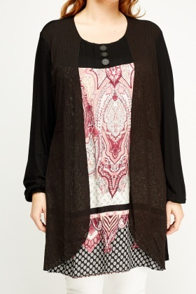 Overlay Contrast Printed Top
