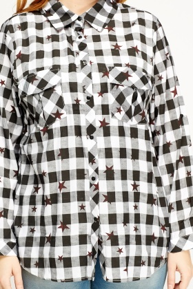 Star Printed Checked Shirt