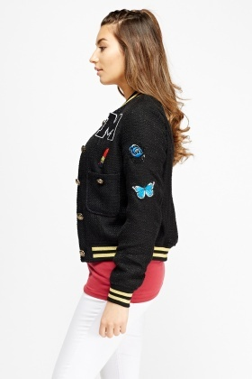 Bobble Patched Bomber Jacket