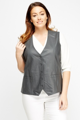 Faux Leather Waist Coat