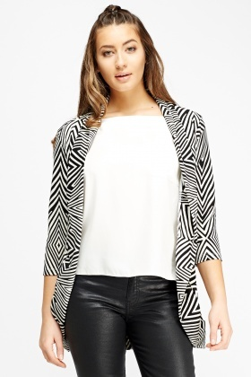 Mono Print Belted Cardigan