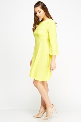 Yellow Fared Sleeve Dress