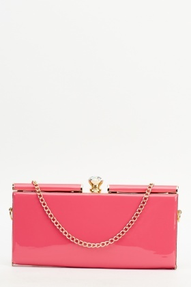 Diamante Top PU Clutch Bag
