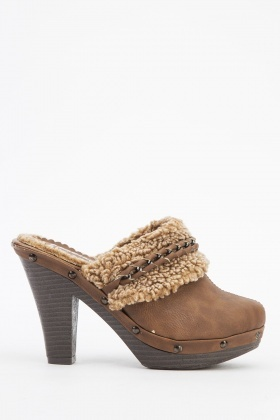 Faux Fur Trim Platformed Slip Ons