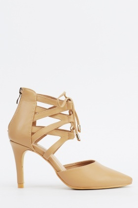 Khaki Court Tie Up Heels