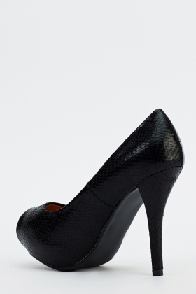 Mock Crock Peep Toe Heels