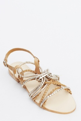 Rope Twist Sling Back Sandals