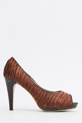 Ruched Peep Toe Heels