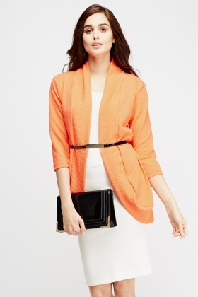 Belted Textured Cardigan