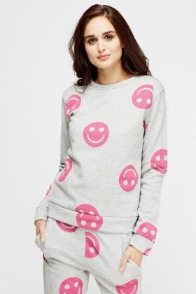 Emoji Printed Grey Jumper