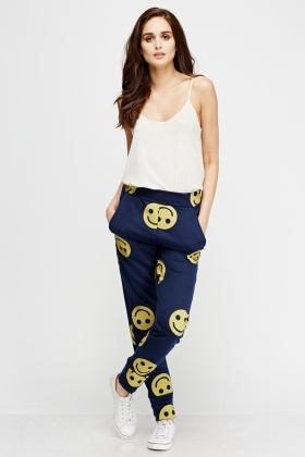 Emoji Printed Slim Fit Trousers