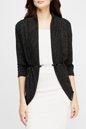 Metallic Round Hem Belted Cardigan