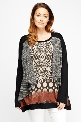 Overlay Printed Speckled Top