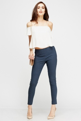 Polka Dot Slim Leg Trousers