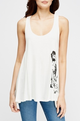 Printed Side A-Line Top