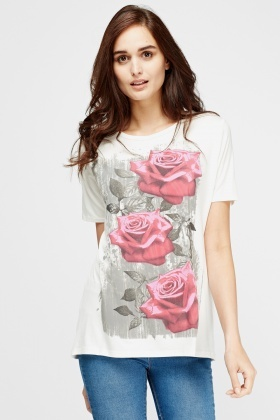 Rose Printed Cream Top