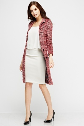 Speckled Eyelash Button Up Cardigan