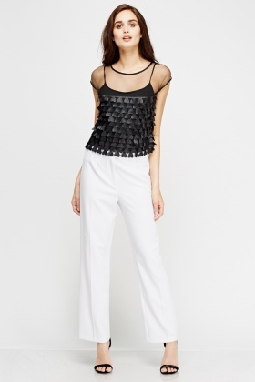 White Straight Leg Trousers