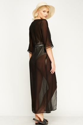 Black Maxi Sheer Cover Up