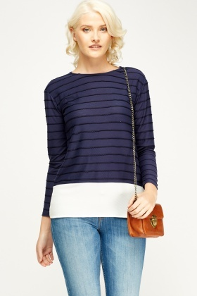 Contrast Hem Striped Top