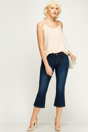 Denim Flared 3/4 Jeans