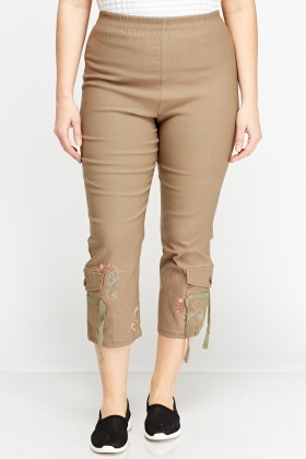 Elasticated Stitched Hem Trousers
