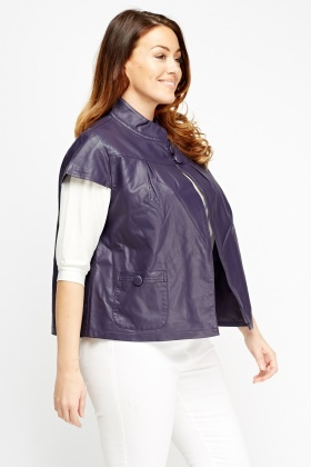 Faux Leather Cap Sleeve Jacket
