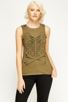 Studded Shoulder Sleeveless Top