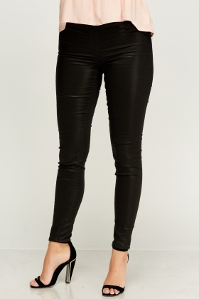 Wet Look Black Jeggings