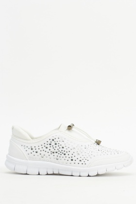 Encrusted Low Top Trainers