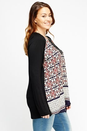 Black Multi Printed Layered Tunic Top