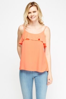 Coral Flared Cami Top