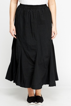 Elasticated Midi Frilled Skirt
