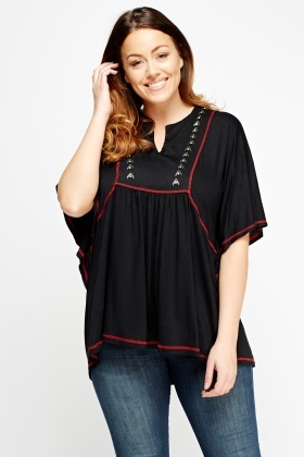 Embroidered Batwing Top