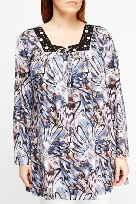 Embroidered Mixed Print Tunic Top