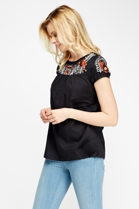 Embroidered Patch Top