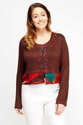 Embroidered Printed Contrast Cardigan