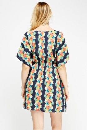 Floral Print Cover Up Dress