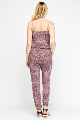 Floral Red Jumpsuit