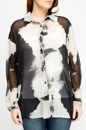 Flower Printed Sheer Blouse