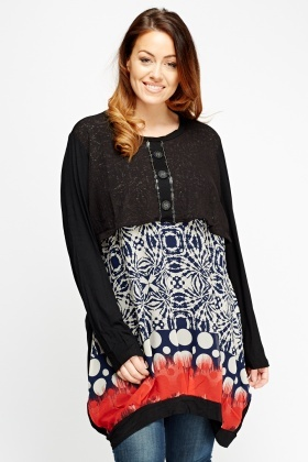 Overlay Bodice Printed Contrast Top