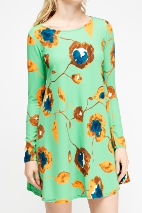 Textured Flower Shift Dress