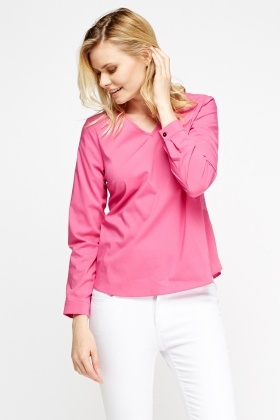 V-Neck Fuchsia Top