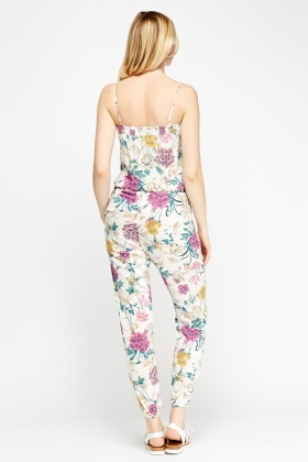 White Floral Jumpsuit