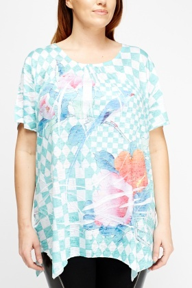 Crinkled Mixed Print Top