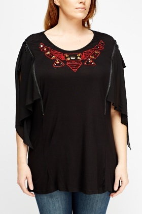 Embroidered Flare Sleeve Top