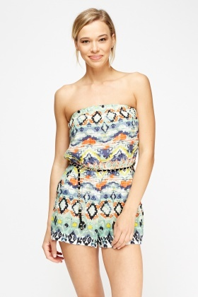 Green Printed Bandeau Playsuit