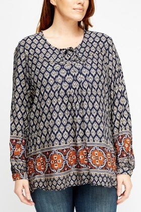 Mixed Print Tie Neck Top